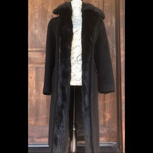 Petite Faux-Fur-Collar Maxi Coat